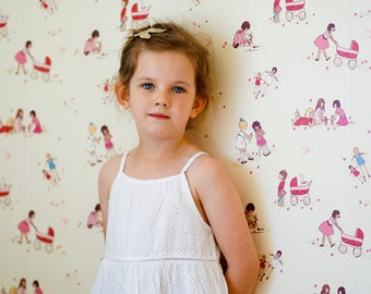 Sarah Jane Girls With Dolls WALLPAPER - Removable, Re-usable, FABRIC, Eco-Friendly, Non-Toxic.  No Mess. No Glue Pop & Lolli