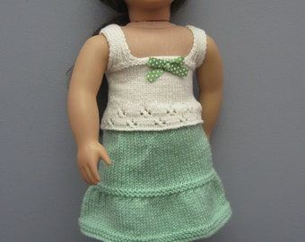 American Girl Doll White Cotton Tank Top with Green Skirt