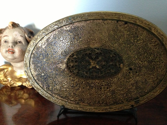 Vintage Gold Small Oval Mirror/Plateau / Beveled Glass Mirror