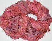 100g Recycled Sari Silk Ribbon Yarn, multi, 65 yards,  3.5 oz / 100 grams Brick multi