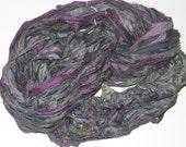 Recycled Sari Silk Ribbon Yarn, multi, Eggplant Silver multi