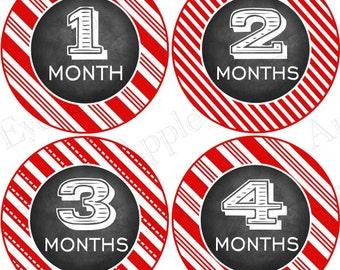 Baby Month Milestone FREE Month Baby Sticker Baby Month Milestone Stickers Baby Boy Bodysuit Stickers Photo Prop Chalkboard Red White 029B