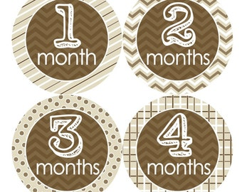 Baby Month Stickers, Monthly Baby Stickers, Baby  Boy or Girl Neutral Milestones, First Year Stickers, Monthly Stickers Tan/Beige Brown 038N