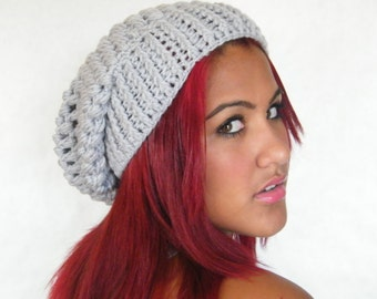 Slouchy beanie, slochy hat, gray chunky crocheted beanie, adult size, ready to ship now.
