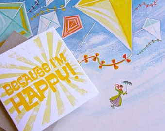 Mary Poppins Because I'm Happy-  all occasion Valentine's Day, Spring, Easter, Letterpress Sunshine Card. Bright sunshine yellow