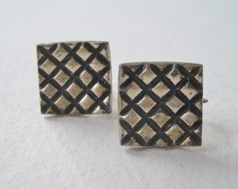 Vintage 1940s Signed Allan Adler Sterling Silver .925 RARE Geometric Square Crosshatch Criss Cross Modern Minimalist Screw On Earrings