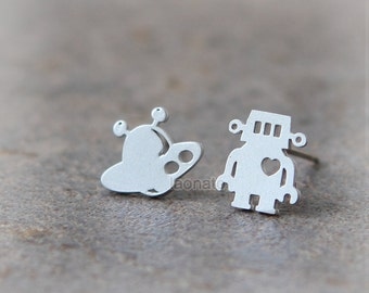 UFO and Robot Earrings / choose your color, gold and silver