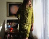 Vintage Brocade Dress Suit Mod designer Pierre Cardin