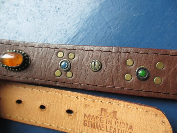 VTG Real Leather Studded Coin belt with coloured stones medium