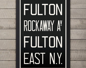 BROOKLYN (FULTON / ROCKAWAY) New York City Subway Sign. Bus Scroll. 12 x 18 Rollsign Print