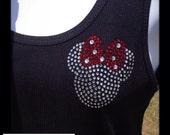 3 Inch Bling Crystal Rhinestone TRANSFER Pocket Size DIY  Miss Mouse for Disney costume or  shirt  available Ready to Ship