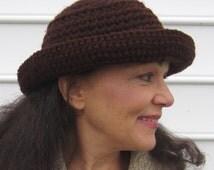 CROCHET PATTERN: Winter Fedora, Chocolate Brown Fedora, Women's Fedora, Men's Fedora, Crochet Hat Pattern, Warm Brim Hat