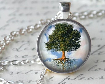 Spring Tree Necklace - Art Tree Charm - Free Chain or Keyring (091)