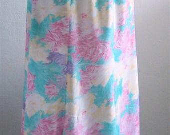 Vintage 1980's New Wave Floral Skirt / Flower Skirt / 80's Skirt