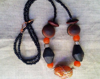 WANGNIGNI African orange recycled glass wood ntama coumba seed Carnelian gemstone necklace by Fianaturals