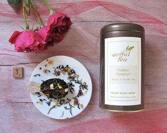 Summer Romance Black & Green Tea • 4 oz. Tin • Tropical Fruit and Sunflower • Loose Leaf Blend