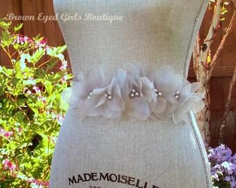 Silver Wedding Sash, Grey Bridal Sash, Wedding Belt, Bridal Belt -Silver Grey Organza Flowers