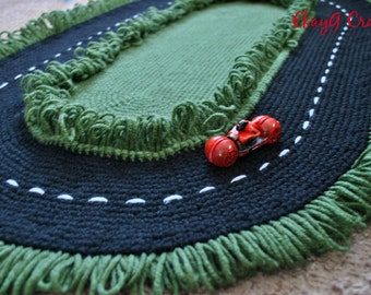 Crochet Race Track Play Area Rug