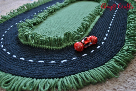Green and Blue Race Track Rug by EKayG