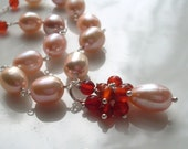 Peach pearl Carnelian necklace - freshwater pearls, burnt orange Carnelian cluster drop, Sterling Silver chain, Carnelian pearl jewelry