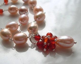 Peach pearl Carnelian necklace - freshwater pearls, burnt orange Carnelian cluster drop, Sterling Silver chain, Carnelian pearl jewelry