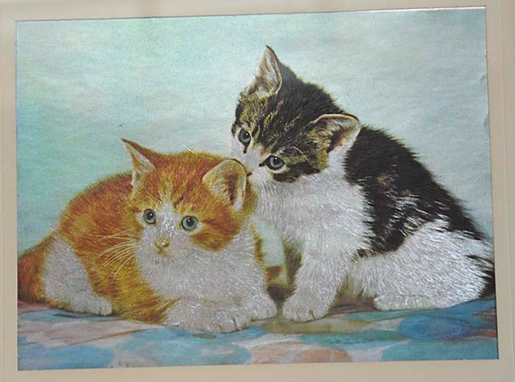 Vintage kitsch 9 x 12 Framed Foil Art Print Cats Kittens picture