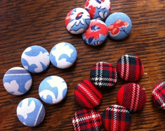 Vintage Fabric Buttons Four 4 Vintage Fabric Button Shank Type Vintage Fabric Button Handmade Select Four From 3 Print Choices You Choose