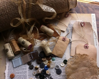 COLLAGE Kit Vintage Papers Coffee Stained Lace Doilies Cork Buttons Vintage Dictionary Pages Mixed Media Kit Coffee Stained Tags Scrabble