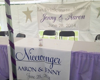 Personalized Table Runner Banner Custom Made for your Wedding or Event - Perfect for Head Table