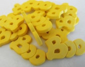 14 Yellow Boo Word Flat Back Buttons