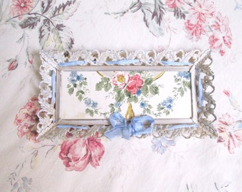 vintage shabby chic cottage vanity tray vintage wallpaper