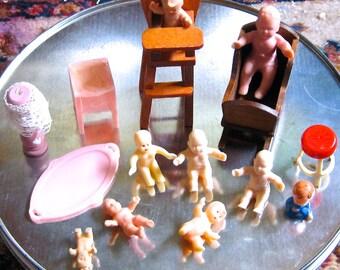 Take 20% off Fifteen Vintage Miniature Babies & Furniture