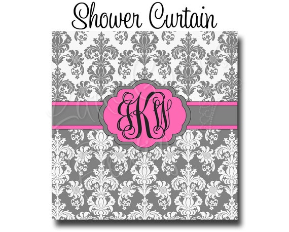 "Custom Personalized Monogram Shower Curtain - You Choose Size , 69"" x 70"" or 70"" x 90"" You Choose Colors -  Damask"