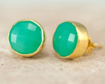 Chrysoprase Stud Earrings - Gemstone Studs - Round Studs - Gold Stud Earrings - Post Earrings