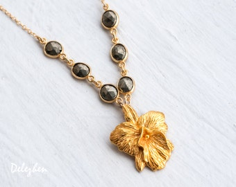 Gold Hibiscus Flower Necklace - Pyrite Necklace - Statement Necklace - Fools Gold Necklace