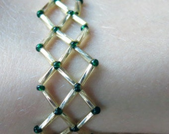 Gold and Green Leafy Beadwork Lattice Bracelet with Bead-Loop Clasp