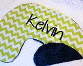 Boppy Pillow Cover- Nursing Pillow Cover- Lime Chevron Print and Navy Minky Boppy Cover