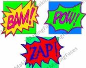 Bam!, Pow!, Zap! Comic Book-Style Embellishments, SVG Cutting Files Kit