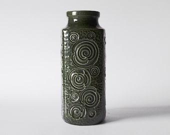 Vintage Tall West Germany Green Jura Vase - Scheurich