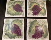 Hand painted tile coasters - Grape clusters