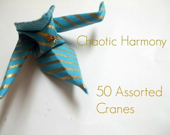 50 Hanging Peace Cranes- Assorted Colors