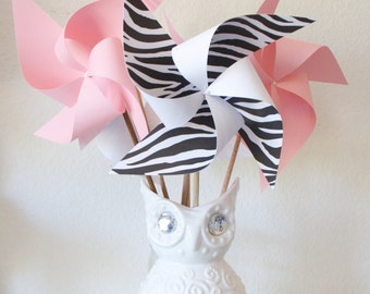 Baby Shower Decoration Circus Animal Party Birthday Carnival Circus Decor - 6 large Pinwheels Baby Girl Zebra (Custom orders welcomed)