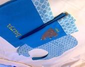 Blue Bear Bib & Burp Cloths -- custom listing for Lynn