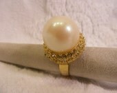 BIG Pearl Big Ring, Large Faux Pearl with Rhinestone Setting, Adjustable Costume Ring