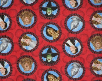 "Wizard of Oz ""Character Circles"" On Red Apple Tonal Background with 2 1/2""  Circles Fabric by Quilting Treasures OOP VHTF"
