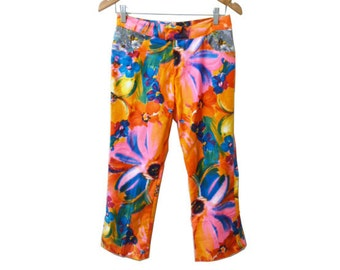 Neon Floral Flared Capri pants vintage Fabric Contrast Pockets size 29