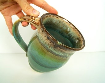 Coffee Mug, Tea Mug, Ceramic, Wheel Thrown, Handmade Pottery, Green and Brown by RiverStone Pottery
