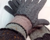 Full Fingers Recycled Sweater Purples Greys Mohair Frothy Fairy Gloves Fall Bohemian Accessory Sleeves Fashion By SewWonderifical