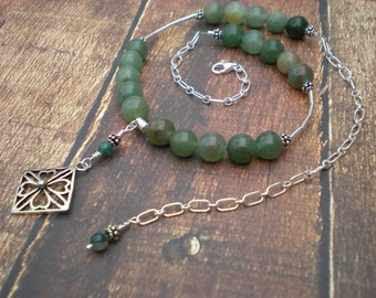 Shamrock necklace, green aventurine, sterling silver, moss agate, shamrock charm, unique jewelry by Grey Girl Designs on Etsy