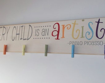 Every Child Is An Artist Children's Art Display Board Wood Sign Brag Board